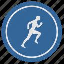 fitness, label, man, round, run, runner icon
