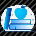 apple, book, education, knowledge, school icon