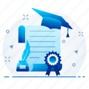 certificate, diploma, education, first, graduation, knowledge icon