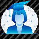 education, graduate, graduation, learning, student, study icon