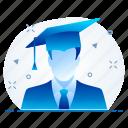 business, education, graduate, man icon