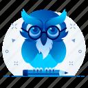 classroom, education, owl, school, smartroom, teacher icon