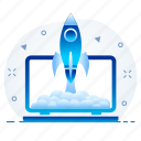 launch, misille, rocket, startup, webpage, website icon