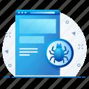 bug, function, malware, page, web icon