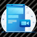 conversion, media, page, portal, seo, video, web icon
