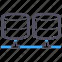 connections, harddisk, hosting, links, network, server, software icon