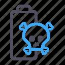 battery, danger, power, skull, software icon