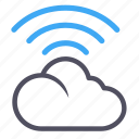 blue, cloud, software, storage, wifi icon