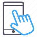 blue, hand, interactive, phone, software, touch icon