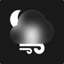 cloud, night, weather, windy, moon, cloudy, forecast icon