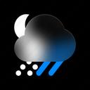 snowy, night, weather, snow, rainy, winter, forecast icon
