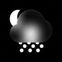 snowy, night, weather, snowflake, snow, winter, forecast icon