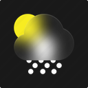 sunny, snowy, day, weather, snow, winter, forecast icon