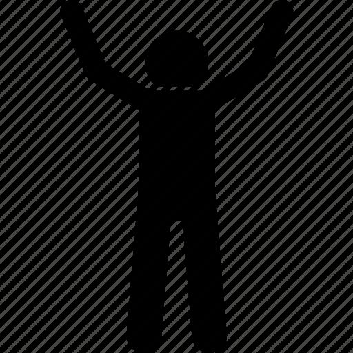 back, behind, man, raising hands icon