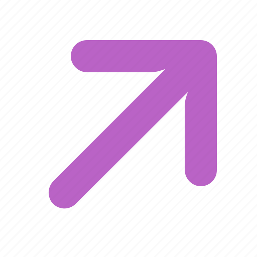 arrow, direction, pointer, right, up icon