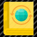 agenda, education, encycopedia, notebook, read, world icon
