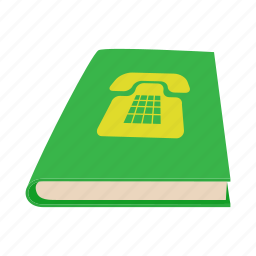 book, call, cartoon, close, green, phone, telephone icon