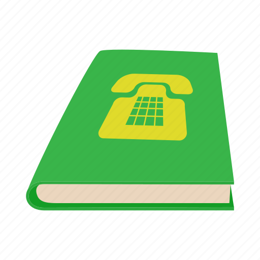 book, call, cartoon, close, green, phone, telephone icon