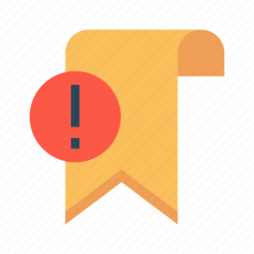 bookmark, error, exclamation, ribbon, tag icon