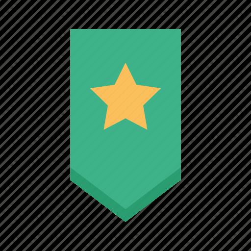 bookmark, favorite, ribbon, star, tag icon