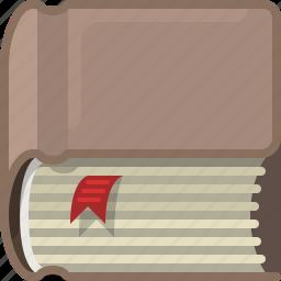 book, bookcase, bookmark, library, reading, study, yumminky icon