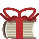 book, bookcase, gift, library, present, ribbon