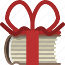book, bookcase, gift, library, present, ribbon, yumminky icon