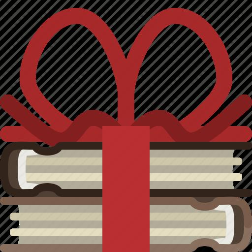 book, books, gift, library, present, ribbon, yumminky icon