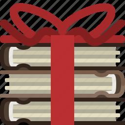 bookcase, books, gift, library, present, ribbon, yumminky icon