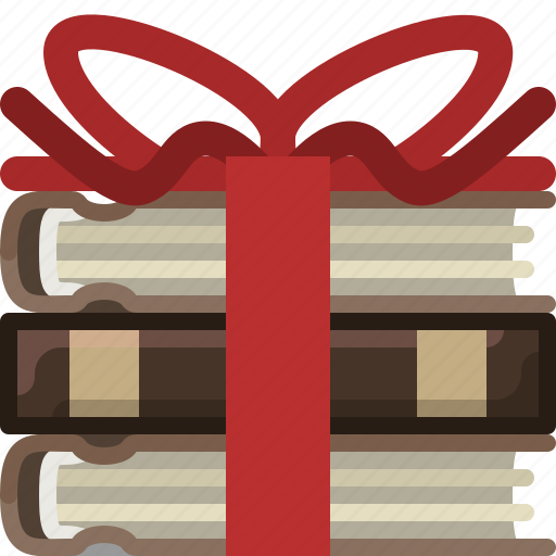 bookcase, books, gift, library, present, ribbon, yumminky icon