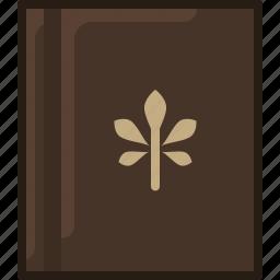 book, bookcase, herbarium, leaf, library, naturel, yumminky icon