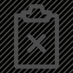 cancel, canceled, checklist, clipboard, task, todo icon