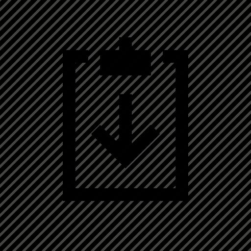 clipboard, down icon