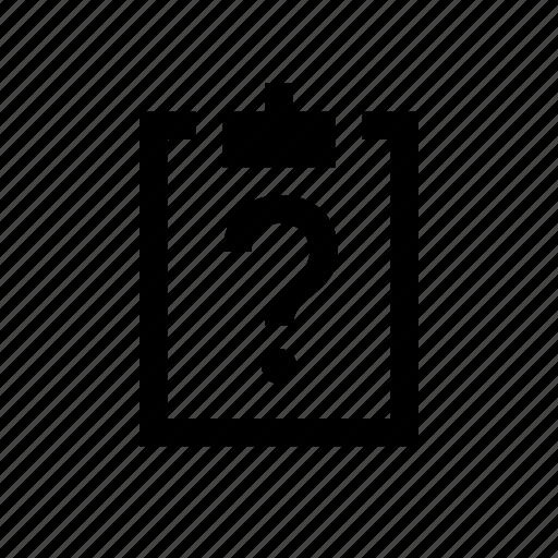 clipboard, question icon