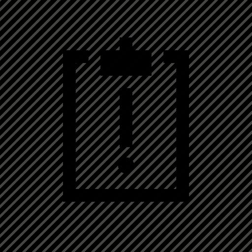 clipboard, warning icon