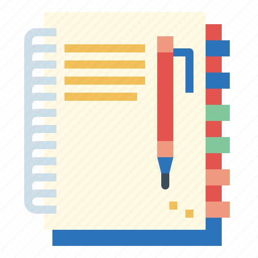 book, notebook, pencil, writing icon