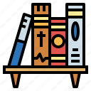 book, bookshelf, library, storage icon