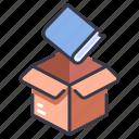 book, box, deliver, delivery, paper, send