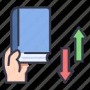 book, borrow, knowledge, library, online icon