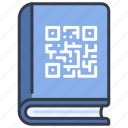book, code, information, library, qr, technology icon