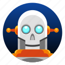 android, app icon, bot, droid, robot, skull icon