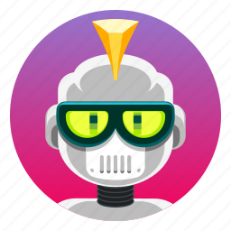 android, app icon, bot, droid, female, punk, robot icon