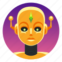 android, app icon, bot, female, feminine, futura, robot icon