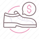 dollar, footwear, rental, shoes
