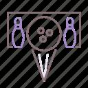 ball, bowling, pins, split icon