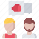 boxer, boxing, dialogue, fighting, sport, talk, trainer icon