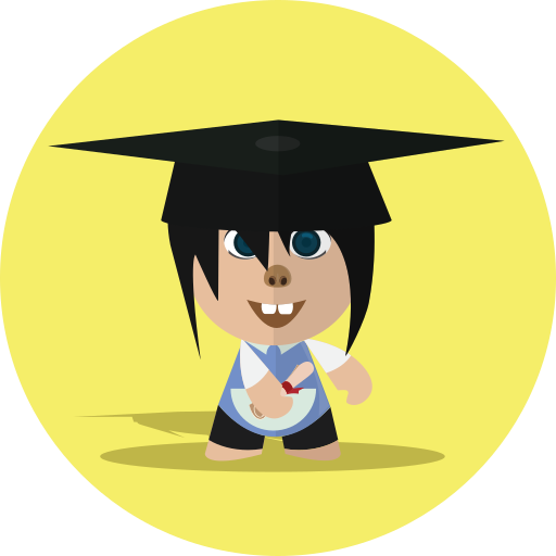 boy, cartoon, character, cheerful, child, school, smile icon
