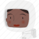astronaut, avatar, character, face, female, girl icon