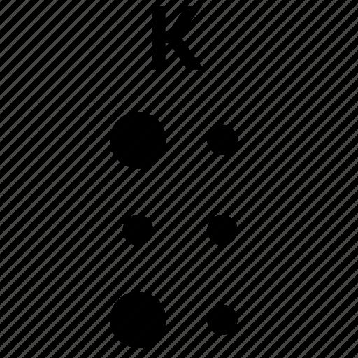alphabet, braille, k, letter icon