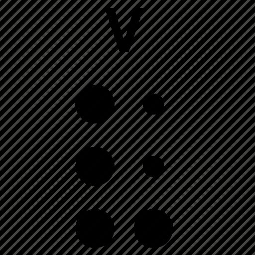 alphabet, braille, letter, v icon